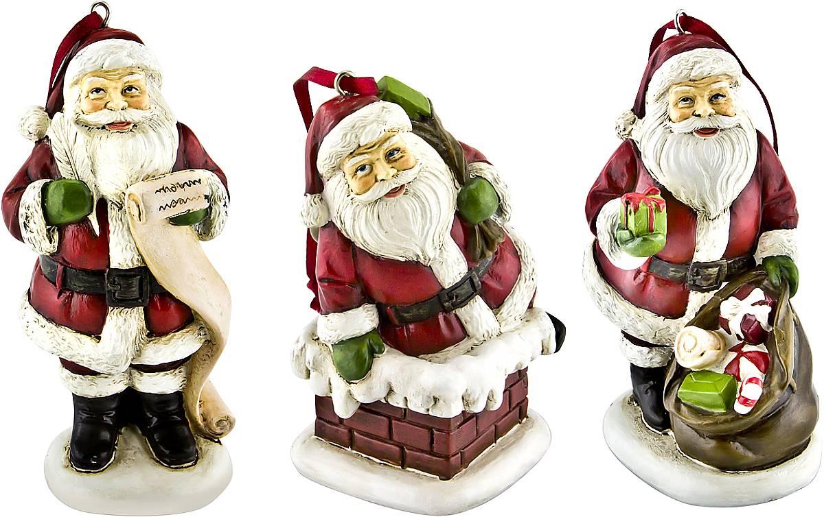 Набор новогодних подвесных украшений Mister Christmas  Дед Мороз , высота 10 см, 3 шт - Украшения