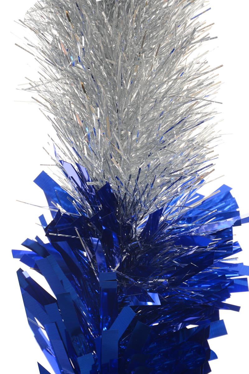 Мишура новогодняя Moranduzzo, цвет: серебристый, синий, диаметр 18 см, длина 2,5 м мишура новогодняя eurohouse праздничная цвет сиреневый серебристый диаметр 9 см длина 200 см