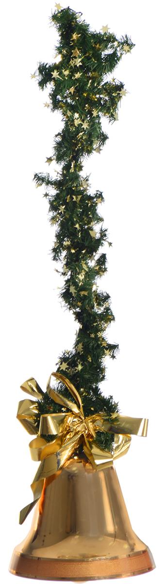 Украшение новогоднее подвесное Weiste Колокол, цвет: золотистый, зеленый, длина 75 см украшение новогоднее оконное magic time дед мороз с самоваром двустороннее 30 х 32 см