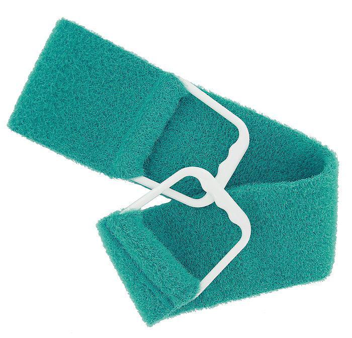 Riffi Мочалка-пояс, двухсторонняя, цвет: бирюзовый. 727727_бирюзовыйДвухсторонняя мочалка-пояс Riffi, обладающая активным пилинговым действием, тонизирует, массирует и эффективно очищает вашу кожу. Мягкой стороной хорошо намыливать тело и наносить на него косметические средства после душа. Жесткую сторону пояса используют для тонизирующего массажа кожи. Для удобства применения мочалка снабжена двумя пластиковыми ручками.Благодаря отшелушивающему эффекту мочалки-пояса, кожа освобождается от отмерших клеток, становится гладкой, упругой и свежей. Интенсивный и пощипывающе свежий массаж тела с применением Riffi стимулирует кровообращение, активирует кровоснабжение, способствует обмену веществ, что в свою очередь позволяет себя чувствовать бодрым и отдохнувшим после принятия душа или ванны.Riffi регенерирует кожу, делает ее приятно нежной, мягкой и лучше готовой к принятию косметических средств. Приносит приятное расслабление всему организму. Борется со спазмами и болями в мышцах, предупреждает образование целлюлита и обеспечивает омолаживающий эффект. Моет легко и энергично. Быстро сохнет. Состоит из 65 % полиэстера и 35% полиэтилена.Гипоаллергенная.Товар сертифицирован.