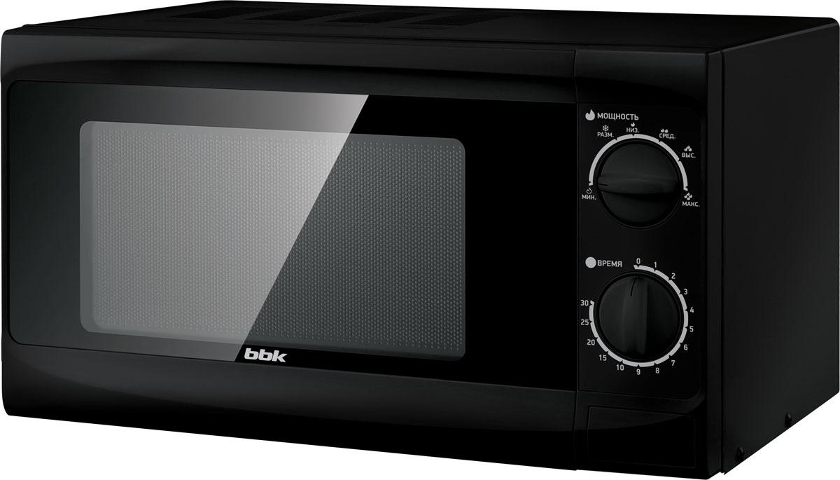 BBK 20MWS-706M/B, Black СВЧ-печь20MWS-706M/B/RUМодель BBK 20MWS-706M/B компактна и проста в своем техническом исполнении, при этом удобна, надежна и обладает всеми необходимыми параметрами. В освещаемой камере объемом 20 литров можно не только разогреть и приготовить еду, но и выполнить деликатную разморозку продуктов. Мощность микроволн составляет 700 Вт, но этот параметр можно отрегулировать, выставив один из шести уровней. Таймер рассчитан на 30 минут. Звуковой сигнал оповестит о завершении действия.Диаметр поворотного стола: 245 мм