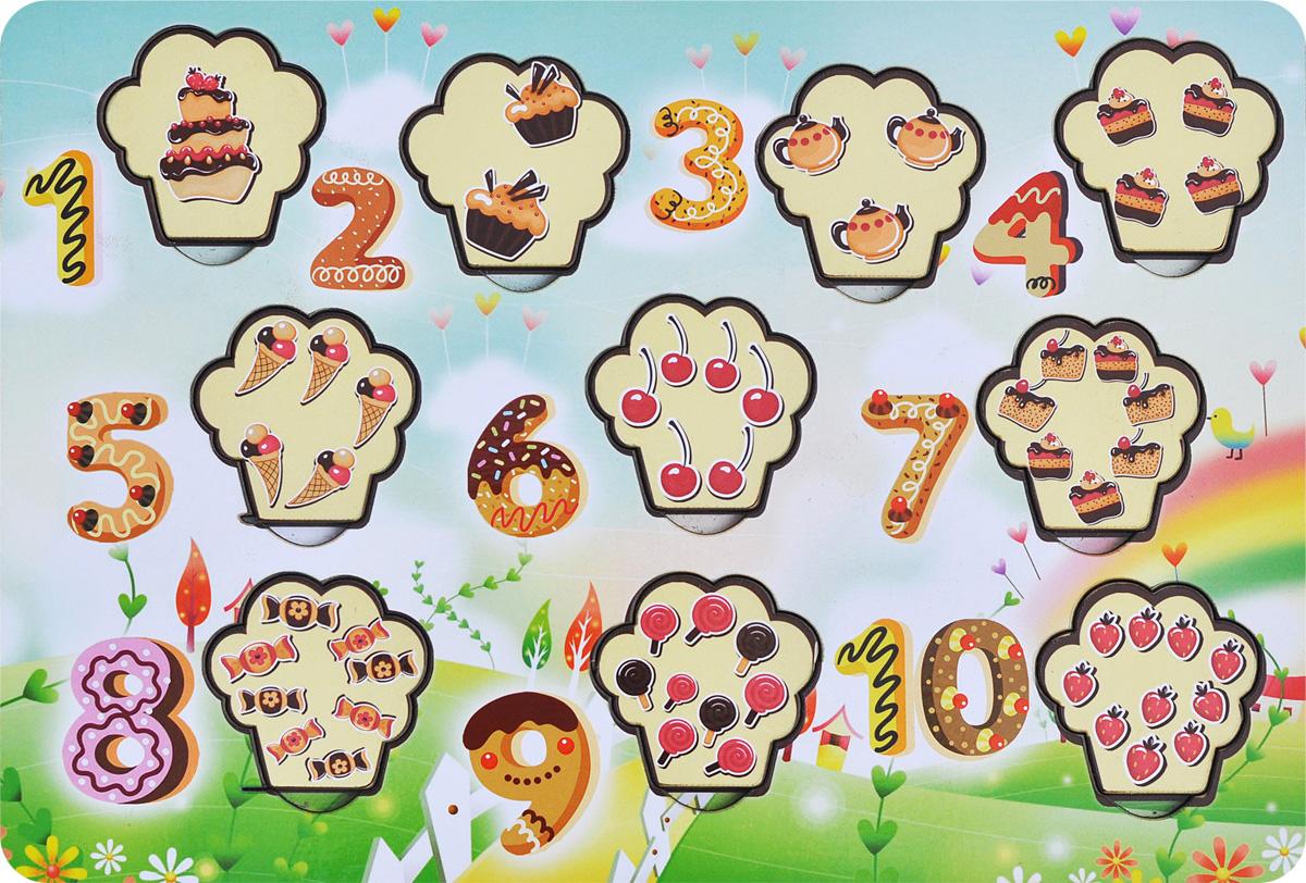 Фабрика Мастер игрушек Рамка-вкладыш Сладкие цифры фабрика мастер игрушек пазл для малышей принцесса