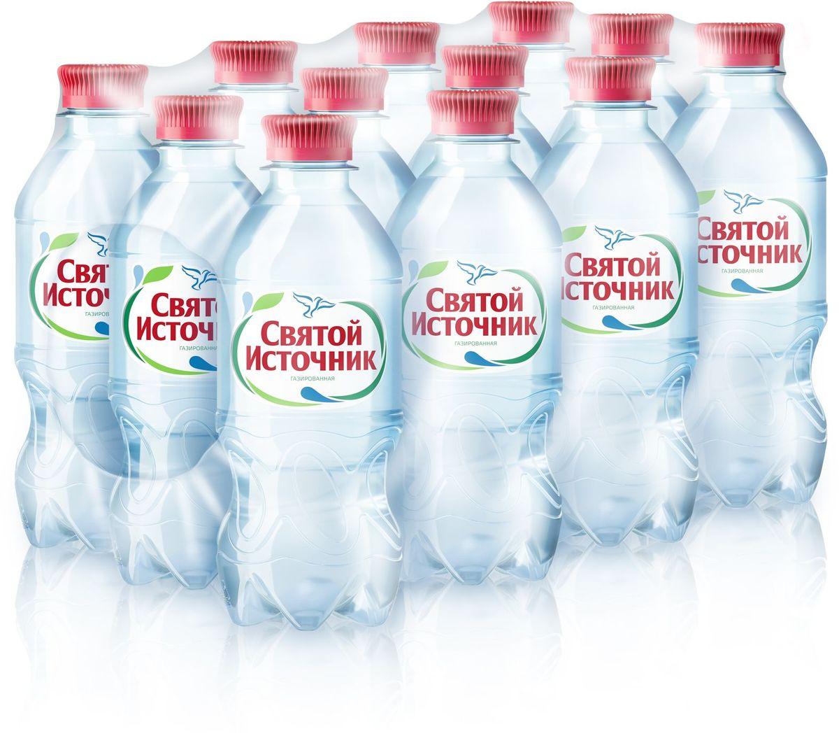 СвятойИсточник водаприродная питьевая газированная, 12 шт по 0,33 л вода святой источник без газа 1 5 л 6шт