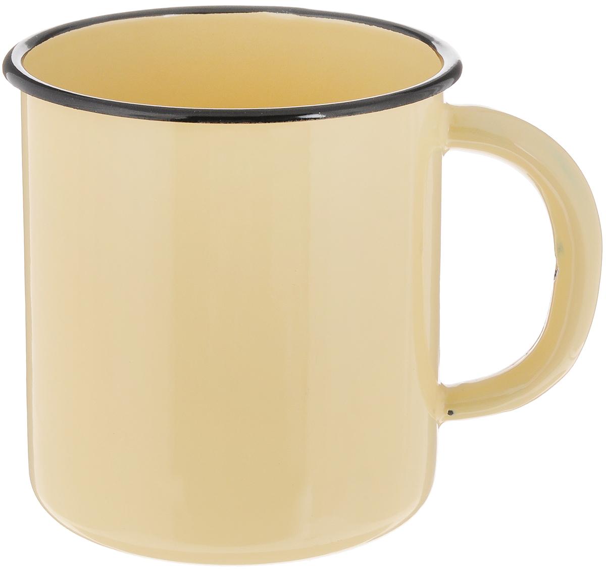 Кружка эмалированная СтальЭмаль, цвет: желтый, черный, 1 л кружка кастет цвет черный серебристый