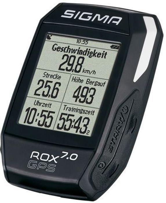 Велокомпьютер Sigma ROX 7.0 GPS, цвет: черныйSIG_01004Велокомпьютер Sigma ROX 7.0 GPS прост в использовании. Предустановленные профили, GPS навигация по дорожкам, барометр высоты/ ROX 7.0 GPS идеальный компаньон с высоким коэффициентом производительности.Функции скорости:-текущая скорость;-средняя скорость;-калорийность (на основе скорости);-максимальная скорость;-расстояние.Функции высотомера:-текущий уровень;-высота профиля;-скороподъемность в м/мин;-склон (в%).Навигационные функции:-направление движения;-расстояние до пункта назначения;-вид трека;-примерное время прибытия;-время до цели.Особенности:-цифровой компас 3-осевой;-анализ графических данных в центрах обработки данных;-подсветка;-спортивные профили;-strava;-водонепроницаемый (ipx7).Временные функции:-дата;-продолжительность;-тренировочное время;-время (12/24).Функции температуры:-текущая температура;-максимальная температура;-минимальная температура;Функции состояния:-индикация состояния батареи в %;-GPS;Дисплей:1.7 full-dot matrix LCD with 160x128px;Вес 61g.