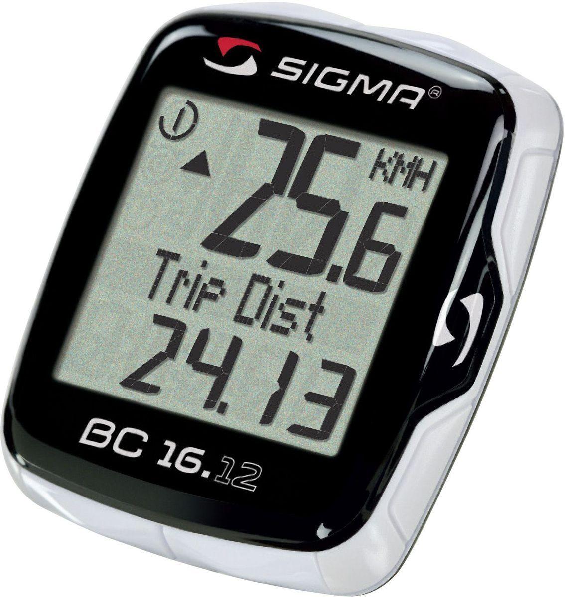 Велокомпьютер Sigma BC 16.12 Тopline, проводной, 16 функцийSIG_06120Функции: текущая скорость средняя скорость максимальная скорость сравнение текущей и максимальной скоростей дистанция поездки общий путь для 1 / 2 / 1+2 велосипедов (не показывается во время движения) отдельный счетчик пути с ручным включением/выключением время в пути общее время 1 / 2 / 1+2 велосипедов (не показывается во время движения) отдельный счетчик времени с ручным включением/выключением часы таймер обратного отсчета текущая температураС этой моделью возможно использование каденса (докупается отдельно) Автоматическое включение/выключение при езде и остановке Влагозащищен Подсветка Есть возможность подключения к компьютеру с помощью дополнительных аксессуаров