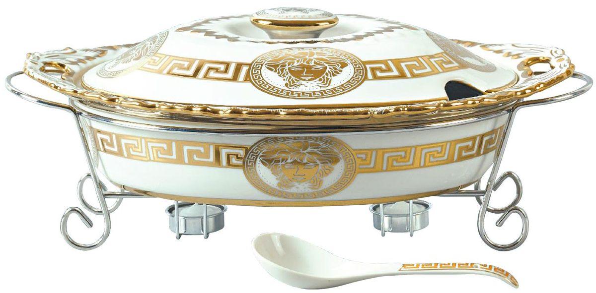 Мармит Madonna, цвет: белый, золотистый, 2,5 л. 1139MA1139MAМармит Madonna выполненный из фарфора предназначен для приготовления блюд в духовке. Изделие с металлической подставкой с подсвечниками и фарфоровой ложкой. Фарфоровая форма декорирована оригинальным золотистым узором. Благодаря красивому дизайну мармит с приготовленным блюдом можно сразу подавать на стол, не перекладывая на сервировочные тарелки. Форма помещается на металлическую подставку. Свечи обеспечивает легкий подогрев блюда и не дает ему остыть. Элегантный дизайн мармита позволит ему изящно украсить стол.