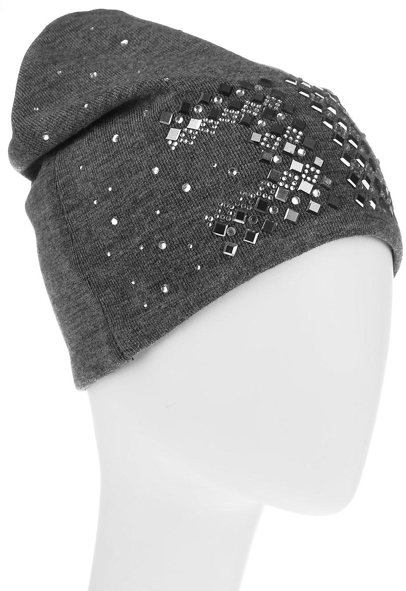 Шапка женская Level Pro, цвет: серый меланж. 383549. Размер 56/58383549Стильная женская шапка Level Pro дополнит ваш наряд и не позволит вам замерзнуть в холодное время года. Шапка выполнена из шерсти и полиэстера, что позволяет ей великолепно сохранять тепло, и обеспечивает высокую эластичность и удобство посадки. Изделие дополнено трикотажной подкладкой и оформлено оригинальным принтом выложенным из страз. Такая шапка составит идеальный комплект с модной верхней одеждой, в ней вам будет уютно и тепло.
