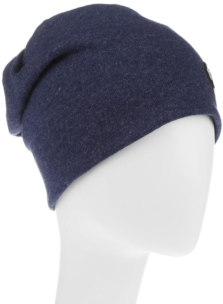 Шапка женская Level Pro, цвет: темно-синий. 998973. Размер 56/58998973Стильная женская шапка Avanta дополнит ваш наряд и не позволит вам замерзнуть в холодное время года. Шапка выполнена из высококачественного комбинированного материала, что позволяет ей великолепно сохранять тепло, и обеспечивает высокую эластичность и удобство посадки. Изделие дополнено флисовой подкладкой и оформлено оригинальной нашивкой в виде листика и стразами. Такая шапка составит идеальный комплект с модной верхней одеждой, в ней вам будет уютно и тепло.