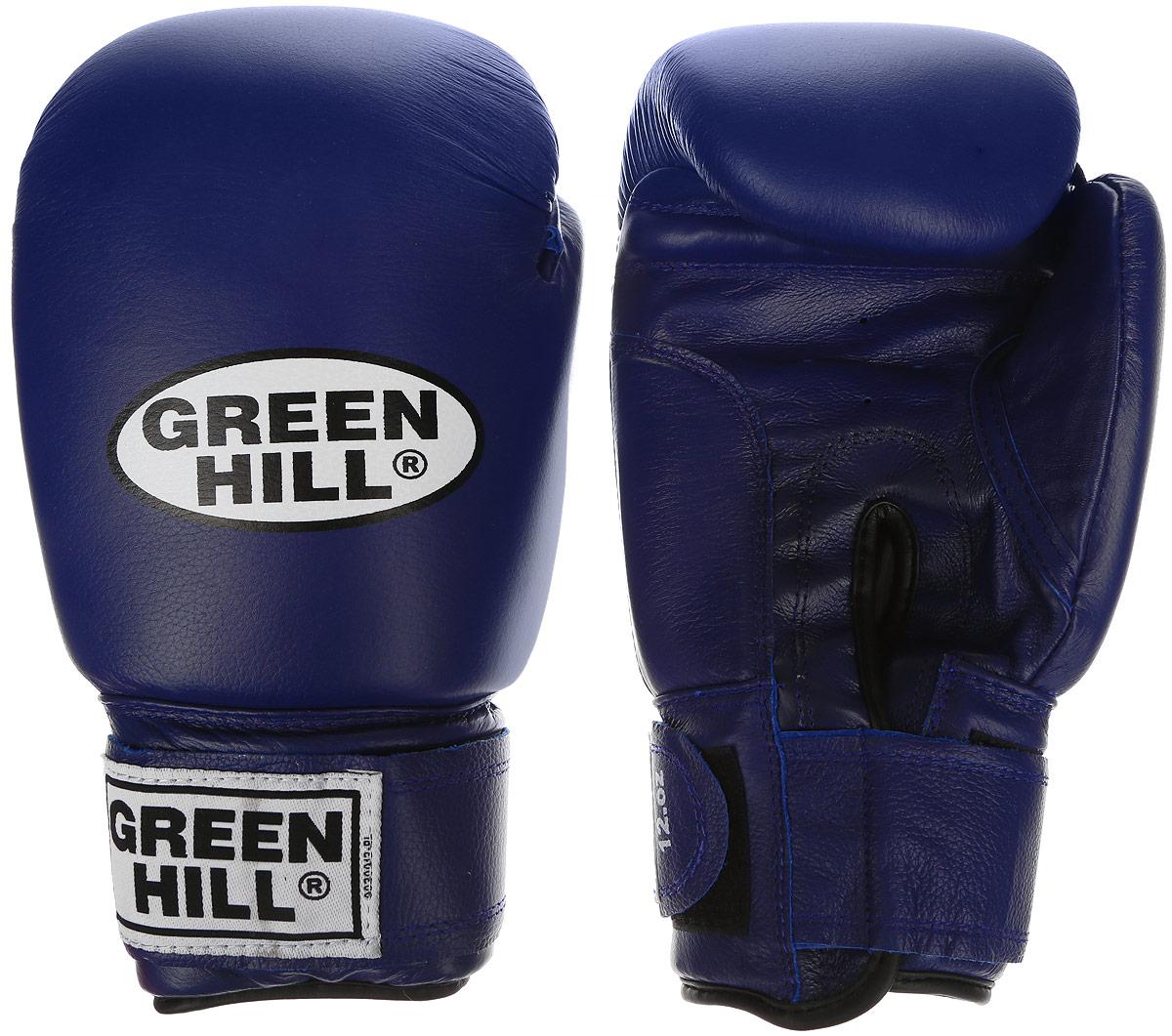 Перчатки боксерские Green Hill Super Star, цвет: синий, белый. Вес 16 унций. BGS-1213сBGS-1213сБоксерские перчатки Green Hill Super Star предназначены для использования профессионалами. Подойдут для спаррингов и соревнований. Верх выполнен из натуральной кожи, наполнитель - из вспененного полимера. Отверстие в области ладони позволяет создать максимально комфортный терморежим во время занятий. Манжет на липучке способствует быстрому и удобному надеванию перчаток, плотно фиксирует перчатки на руке.