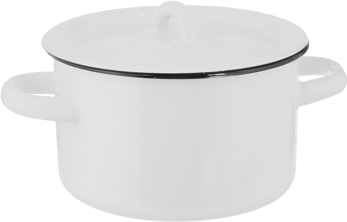 Кастрюля эмалированная СтальЭмаль с крышкой, цвет: белый, 1,5 л