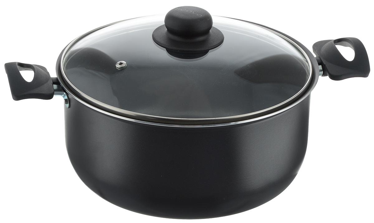 """Кастрюля Scovo """"Consul"""" изготовлена из листового алюминия с антипригарным покрытием Quantum2 Whitford. Такое покрытие обеспечивает превосходные антипригарные свойства, поэтому при готовке можно почти не использовать подсолнечное масло. Посуда абсолютно безопасна для здоровья, так как не содержит PFOA, соединений кадмия и свинца.   Корпус посуды толщиной 1,8 мм обеспечивает быстрый и равномерный нагрев посуды. Удобные пластиковые ручки не нагреваются при приготовлении. Крепление ручек на заклепки обеспечивает дополнительную прочность и долговечность всего изделия. Крышка выполнена из жаропрочного стекла.  Изделие можно использовать на газовых и электрических плитах. Можно мыть в посудомоечной машине.  Высота стенки: 11,5 см.  Ширина (с учетом ручек): 35 см."""