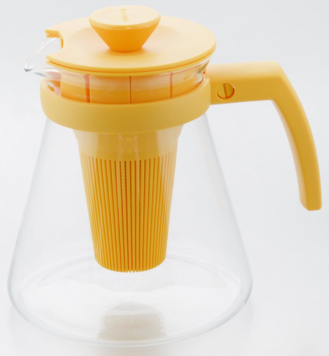 Чайник заварочный Tescoma Teo Tone, с ситечком, цвет: желтый, прозрачный, 1,25 л646623.12Чайник заварочный Tescoma Teo Tone предназначен для подготовки и сервировки всех видов чая и чайных напитков. Чайник снабжен глубоким ситечком для заваривания свежей мяты, мелиссы, имбиря, сушеного шиповника, фруктов, а также очень густым ситечком для заваривания всех видов рассыпного чая. Корпус чайника изготовлен из термостойкого боросиликатного стекла, поэтому его можно ставить на плиту. Ручка, крышка и ситечко изготовлены из прочного пластика. Чайник подходит для газовых, электрических и стеклокерамических плит, микроволновой печи. Не рекомендуется мыть в посудомоечной машине. Инструкция по использованию внутри упаковки. Диаметр (по верхнему краю): 10 см. Диаметр основания: 14 см. Высота: 16 см.