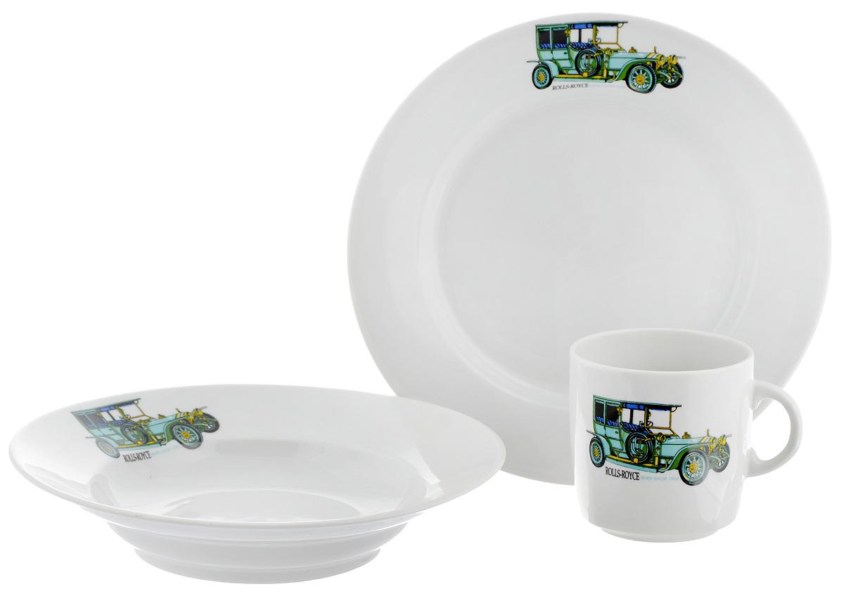 Набор детской посуды Фарфор Вербилок Машинки. Rolls-Royce, 3 предмета18132380Набор посуды Машинки. Rolls-Royce изготовлен из высококачественного экологически чистого фарфора. В набор входят 3 предмета: кружка детская, плоская тарелка и тарелка для супа. Посуда оформлена красочными рисунками автомобиля. Набор, несомненно, привлечет внимание вашего ребенка и не позволит ему скучать. Порадуйте своего ребенка этим замечательным набором! Диаметр кружки: 7 см. Высота кружки: 7,5 см. Диаметр тарелки для супа: 19,5 см. Высота тарелки для супа: 4 см. Диаметр плоской тарелки: 20 см. Высота плоской тарелки: 2,5 см.