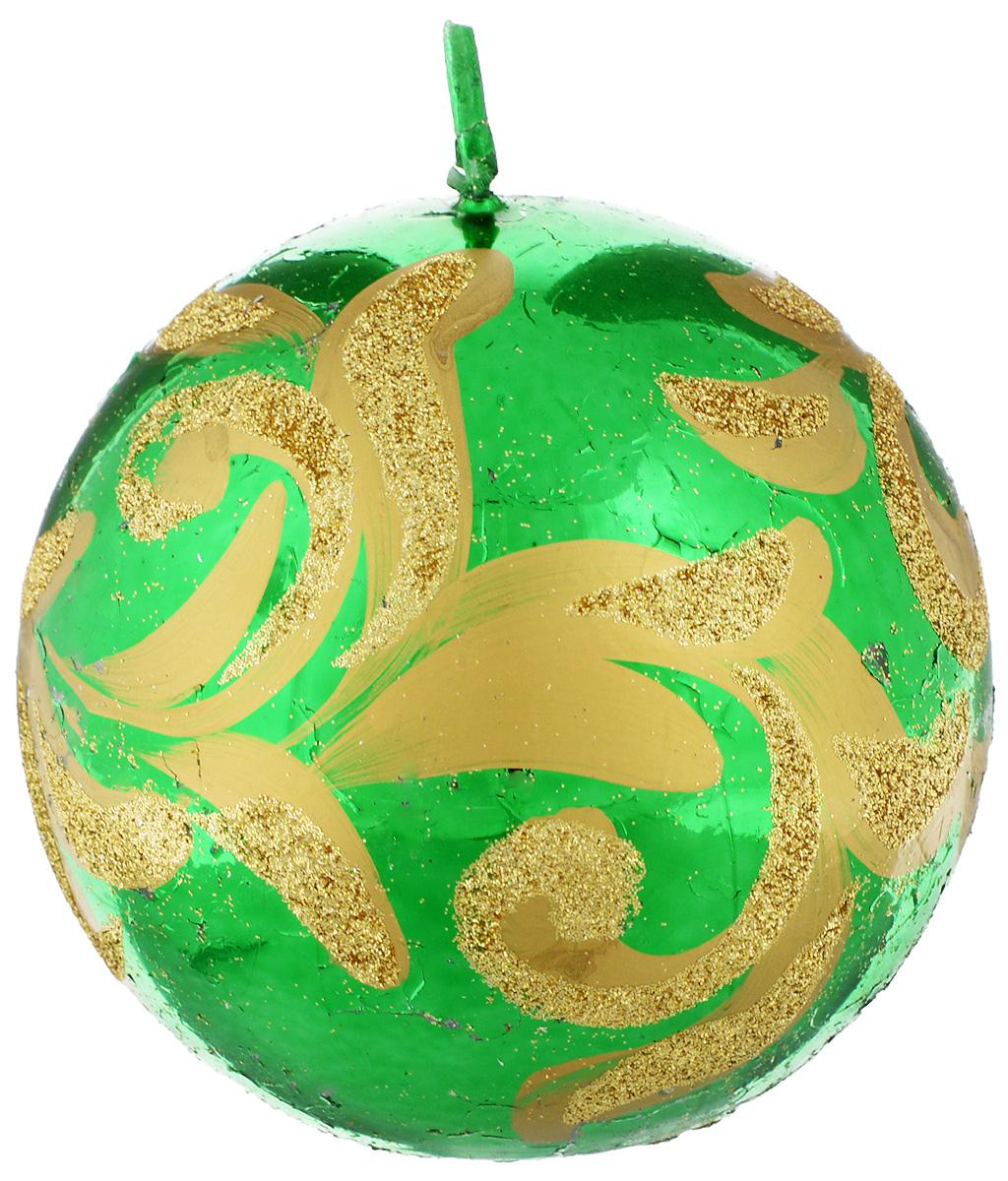 Свеча-шар Fem Флоренция, цвет: зеленый, золотой, диаметр 9 см0011/1097Свеча-шар Fem Флоренция изготовлена из парафина и декорирована изящным узором с блестками. Такая свеча станет изысканным украшением интерьера. Она принесет в ваш дом волшебство и ощущение праздника. Создайте в своем доме атмосферу веселья и радости, и тогда самый обычный день с легкостью превратится в торжество.