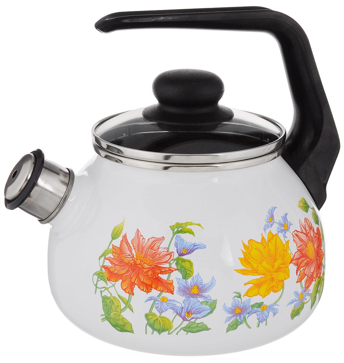 """Чайник СтальЭмаль """"Цветочный"""" выполнен из  высококачественной стального проката, покрытого двумя  слоями жаропрочной эмали. Такое покрытие защищает  сталь от коррозии, придает посуде гладкую  стекловидную поверхность и надежно защищает от  кислот и щелочей. Носик чайника оснащен свистком,  звуковой сигнал которого подскажет, когда закипит вода.  Чайник оснащен фиксированной ручкой из пластика и  стеклянной крышкой, которая плотно прилегает к краю  благодаря особой конструкции. Внешние стенки  декорированы красочным изображением цветов.  Эстетичный и функциональный чайник будет  оригинально смотреться в любом интерьере.  Подходит для газовых, электрических,  стеклокерамических плит, включая индукционные.  Можно мыть в посудомоечной машине.  Диаметр (по верхнему краю): 12,5 см. Высота чайника (с учетом ручки и крышки): 20,5 см. Высота чайника (без учета ручки и крышки): 12,5 см."""