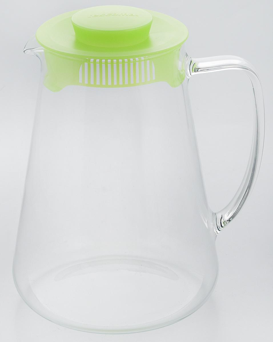 Кувшин Tescoma Teo, с крышкой, цвет: прозрачный, зеленый, 2,5 л646626.25Кувшин Tescoma Teo, выполненный из высококачественного прочного стекла, элегантно украсит ваш стол. Кувшин оснащен удобной ручкой и пластиковой крышкой. Он прост в использовании, достаточно наклонить его и налить ваш любимый напиток. Форма крышки обеспечивает наливание жидкости без расплескивания. Изделие прекрасно подойдет для холодильника и для подачи на стол воды, сока, компота и других напитков, как горячих, так и холодных. Кувшин Tescoma Teo дополнит интерьер вашей кухни и станет замечательным подарком к любому празднику.Можно мыть в посудомоечной машине и использовать на газовых, стеклокерамических и электрических плитах.Диаметр (по верхнему краю): 11 см.Диаметр (по нижнему краю): 16 см.Высота кувшина (с учетом крышки): 23 см.