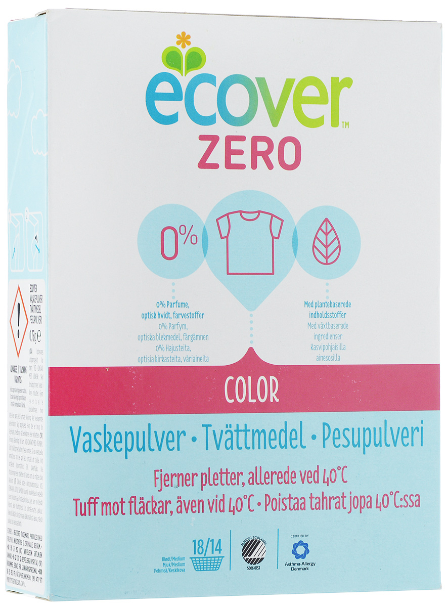 Порошок стиральный Ecover Zero, для цветного белья, 750 г400342Ультраконцентрированная формула экологического стирального порошка Ecover Zero для цветного белья подходит для стирки цветных тканей при температуре от 30 до 60 С. Улучшенная формула предназначена для бережного удаления таких загрязнений как пятна от вина, фруктов, травы и т.д. Не содержит ароматизаторов (что особенно важно для чувствительных людей: беременных и детей). Сочетает в себе высокую эффективность и высокую экологичность - отлично отстирывает даже при низкой температуре, не оставаясь на белье и не оказывая вредного влияния на кожу. Экономичен в использовании и подходит как для стирки в стиральных машинах, так и для ручной стирки.Товар сертифицирован.