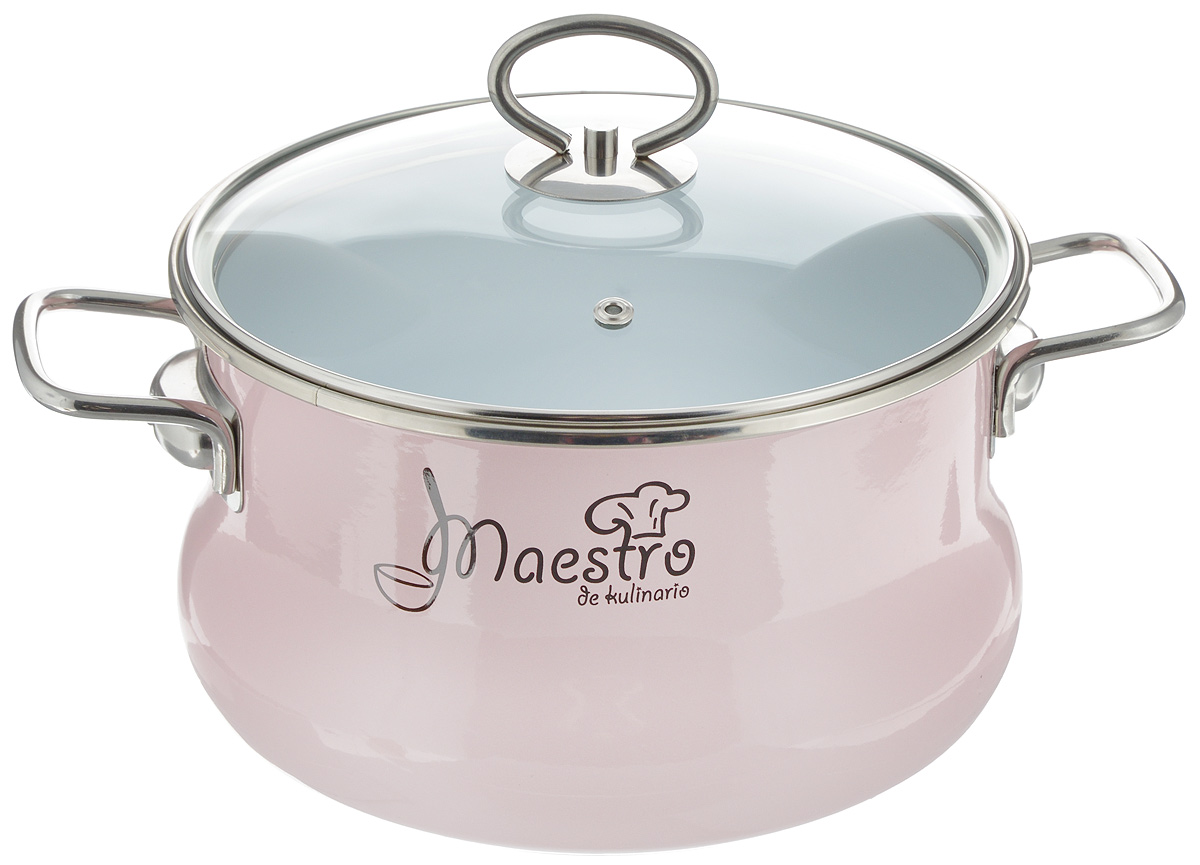 "Кастрюля Vitross ""Maestro"" с крышкой, цвет: розовый, 4 л"