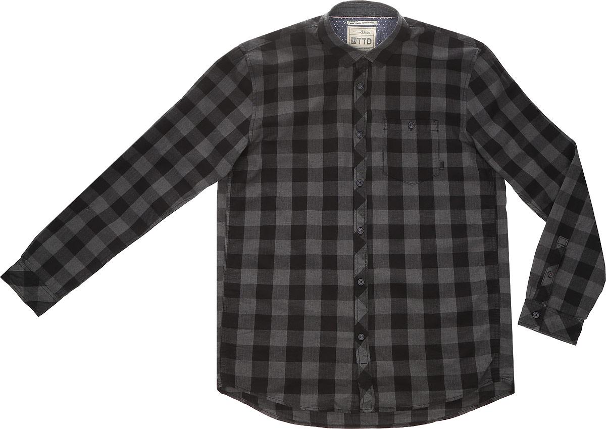 цена  Рубашка мужская Tom Tailor Denim, цвет: серый, черный. 2032742.00.12_2999. Размер XXL (54)  онлайн в 2017 году