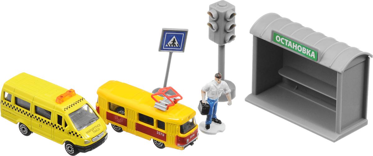 ТехноПарк Игровой набор Городской транспорт Маршрутное такси Трамвай технопарк трамвай