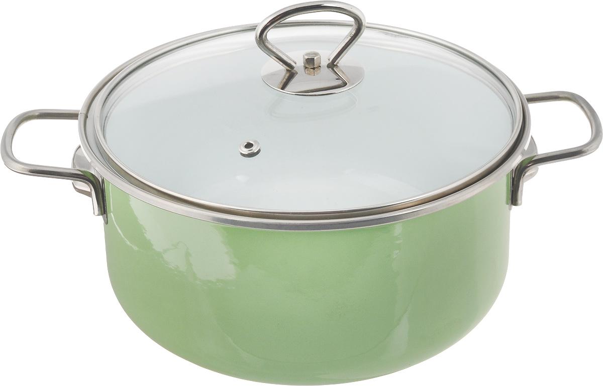 Кастрюля эмалированная Elros Green Apple с крышкой, 3 лС-1812САП4/3ДСзлКастрюля Elros Green Apple изготовлена из высококачественного стального проката, покрытого двумя слоями жаропрочной эмали. Стеклокерамика инертна и устойчива к пищевым кислотам, не вступает во взаимодействие с продуктами и не искажает их вкусовые качества. Прочный стальной корпус обеспечивает эффективную тепловую обработку пищевых продуктов и не деформируется в процессе эксплуатации.Кастрюля оснащена ручками и стеклянной крышкой. Посуда подходит для всех видов плит, включая индукционные. Диаметр кастрюли по верхнему краю: 21 см.Ширина кастрюли (с учетом ручек): 29 см. Высота стенки: 10,5 см.