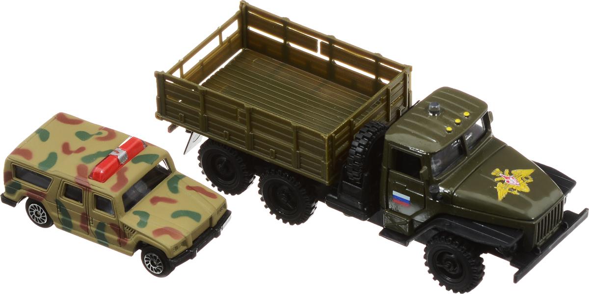 ТехноПарк Машинка инерционная Урал с внедорожником игрушка технопарк зил 130 ct11 309 1