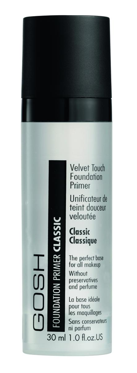 Gosh, Праймер для лица выравнивающий Velvet Touch Foundation Primer Classic, 30 мл624582Особая бесцветная субстанция заполняет мелкие неровности и глубокие порыкожи, делая вашу кожу исключительно гладкой. Великолепно способствуетлегкому и ровному нанесению макияжа. Основу Velvet Touch Foundation Primerможно использовать как самостоятельно, так и после нанесения дневного крема.Делает кожу мягкой и гладкой, словно шелк. Прекрасная основа для любого макияжа Содержит Алоэ вераНе содержит консервантов и парфюмерных отдушек С дозатором