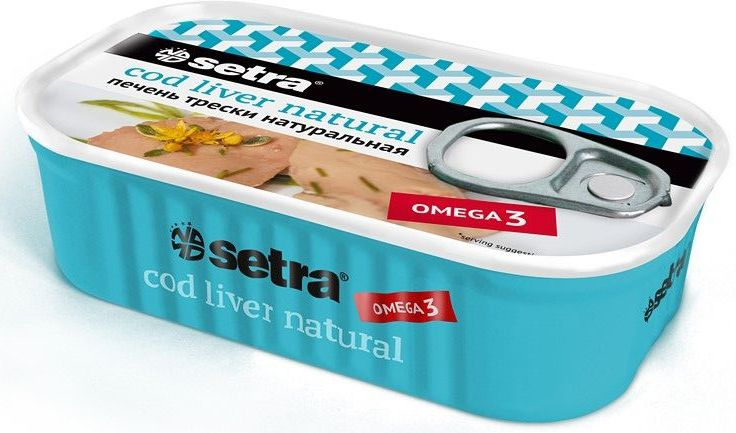 Setra печень трески натуральная, 120 г актимель продукт кисломолочный черника ежевика 2 5
