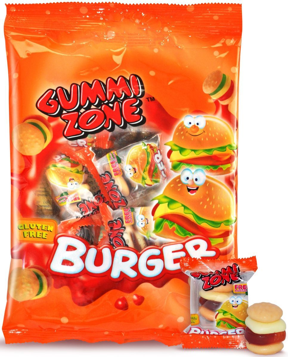 Gummy Zone мармелад бургер, 99 г gummi zone мармелад пицца 99гр