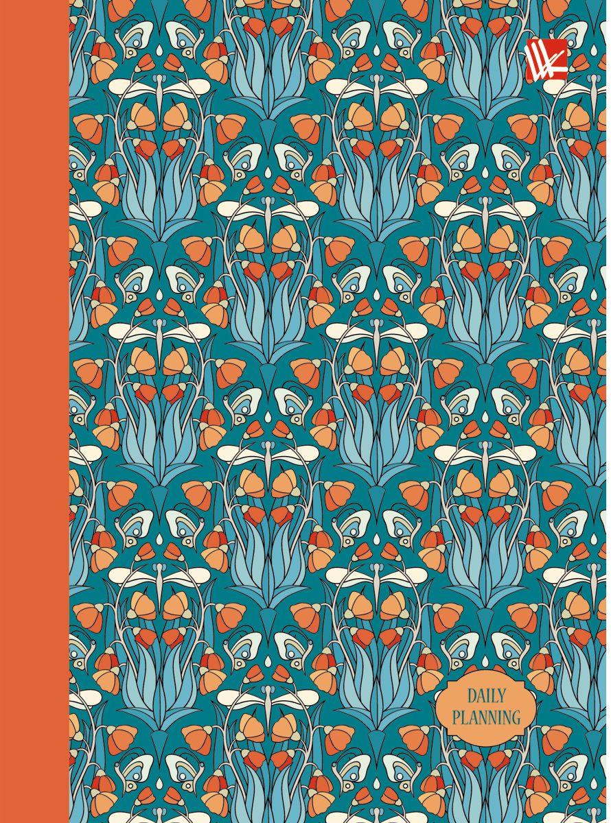 Канц-Эксмо Ежедневник Орнамент Цветы и бабочки недатированный 128 листов формат A6 записные книжки канц эксмо книга для записей с поролоном 80 листов орнамент разноцветные зонтики