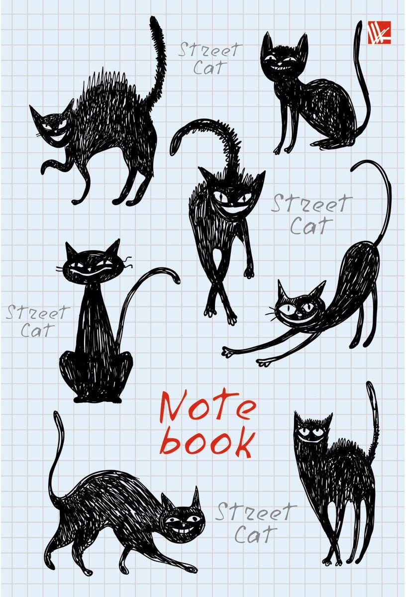 Канц-Эксмо Записная книжка Графика Черные кошки 80 листов в клетку записные книжки канц эксмо книга для записей с поролоном 80 листов орнамент разноцветные зонтики