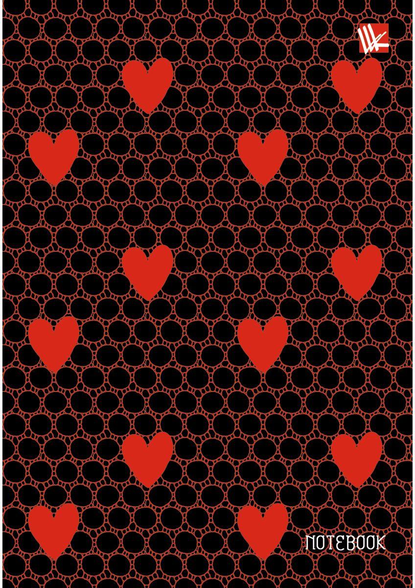 Канц-Эксмо Записная книжка Орнамент Красные сердечки 80 листов в клеткуКЗЛ6802209Записная книжка в твердом переплете с поролоном А6, 80 листов. Обложка с матовой ламинацией, выборочным лакированием и блестками. Форзацы цветные. Бумага – офсет 70 г/м2, линия. Сшитый блок.
