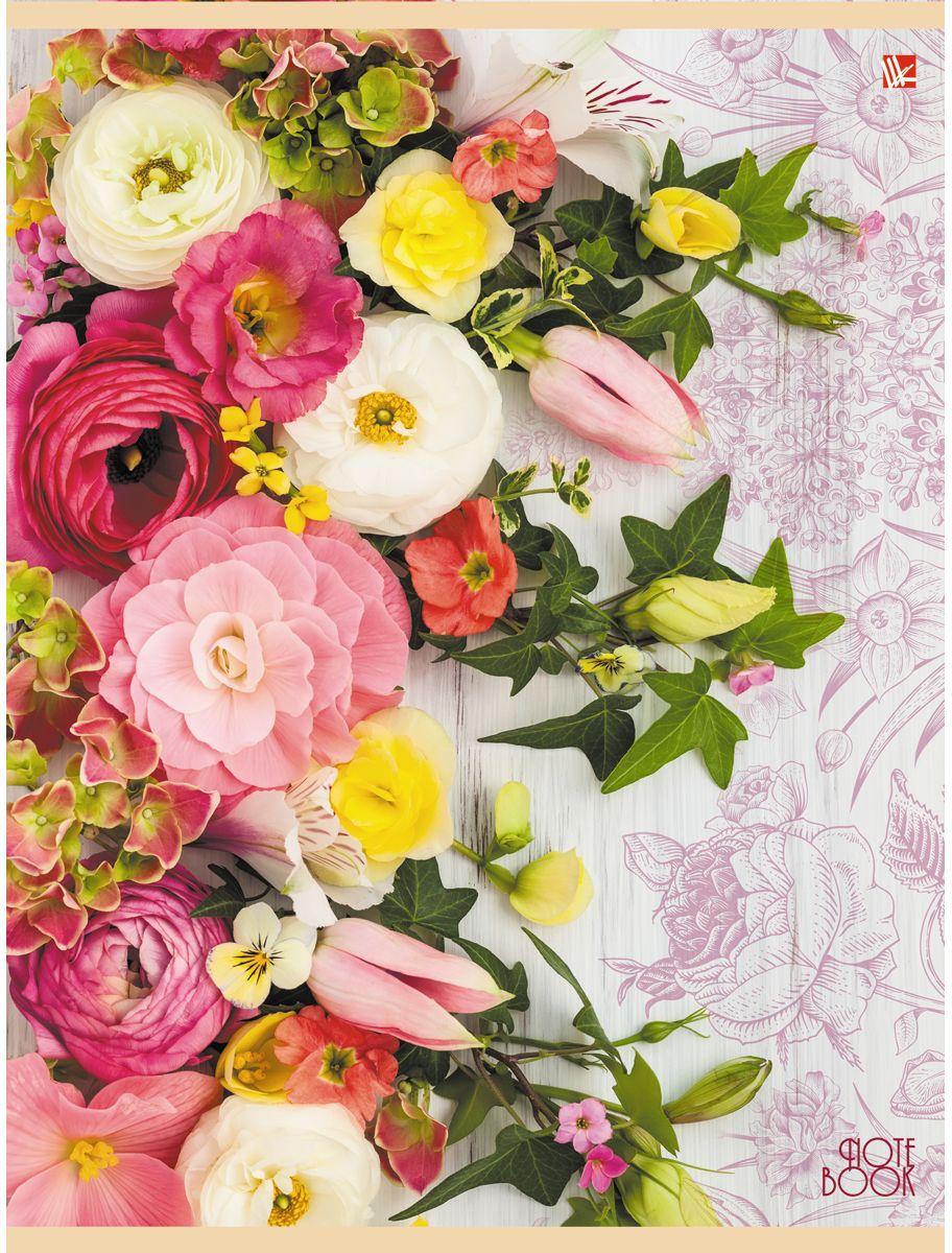 Канц-Эксмо Тетрадь Цветы Розовый букет 96 листов в клеткуТБ4964247Тетрадь А4 96 листов на скрепке, клетка. Обложка мелованный картон с выборочным лакированием и блестками, бумага офсет 60г/м2