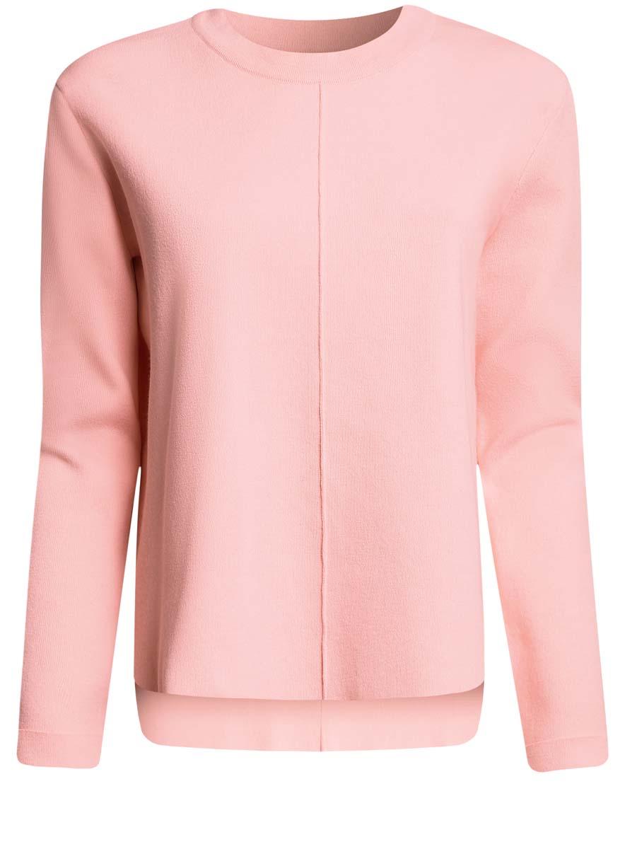 Джемпер женский oodji Collection, цвет: светло-розовый. 73812657/46040/4000N. Размер XS (42) цена