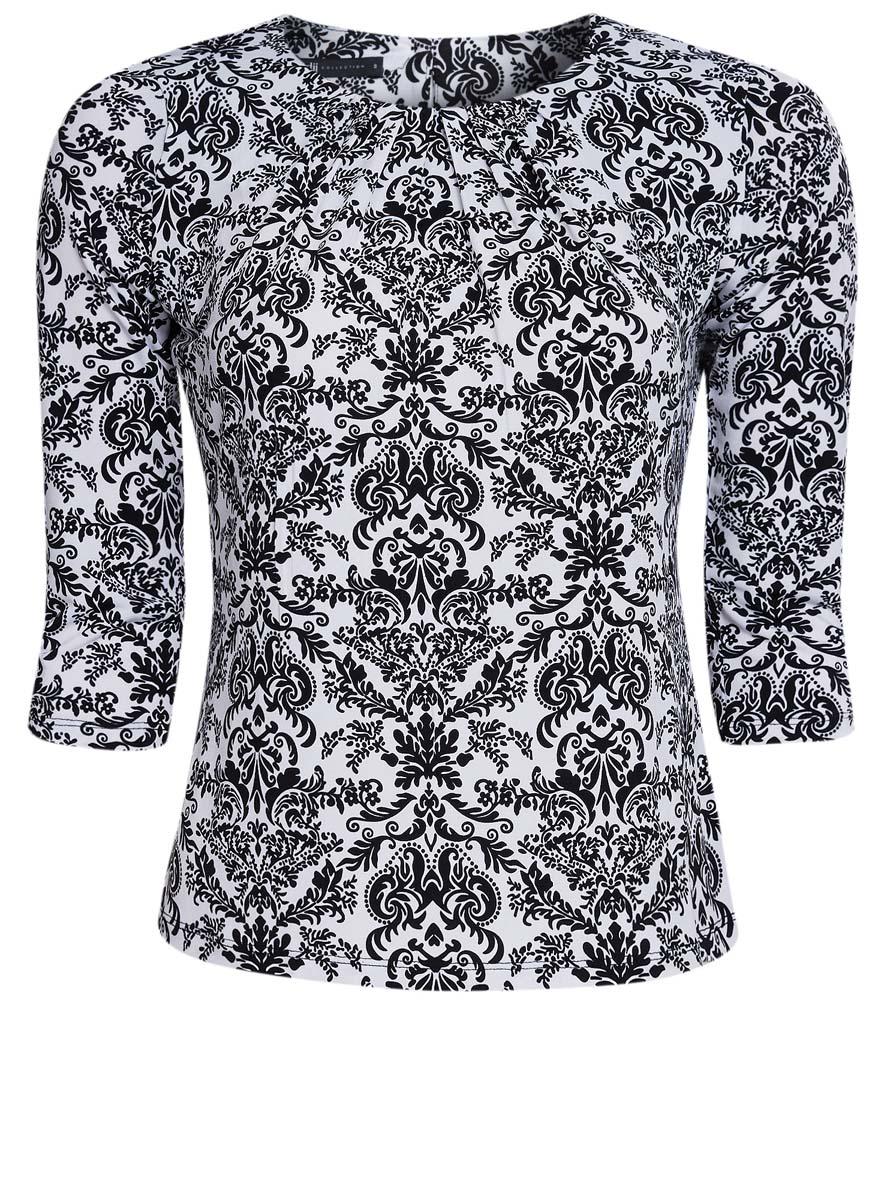 Блузка женская oodji Collection, цвет: черный, белый. 24201012/26256/2910E. Размер S (44) блузка oodji блузка