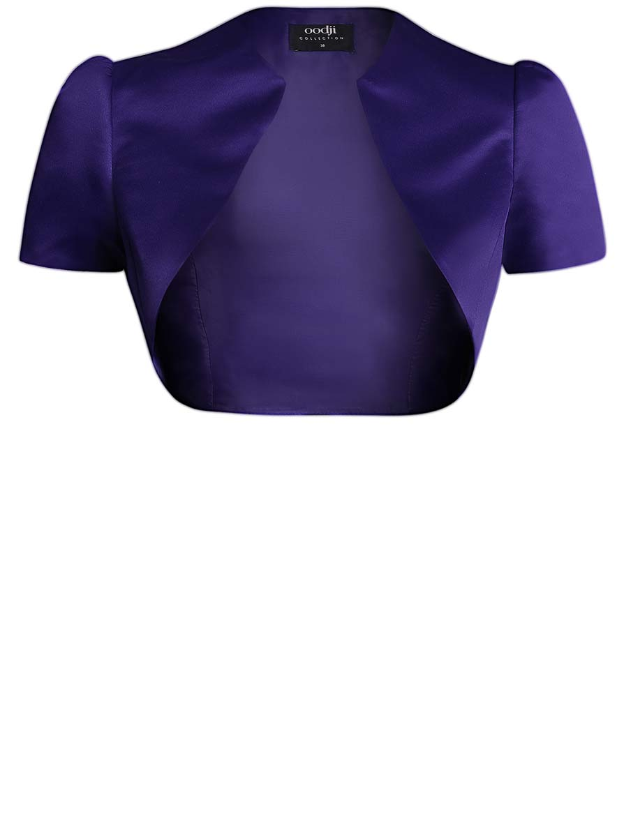 Болеро женское oodji, цвет: темно-синий. 22A00003-2/24393/7500N. Размер 46 (52-170)22A00003-2/24393/7500NОригинальное болеро изготовлено из полиэстера на гладкой подкладке.Модель с V-образным вырезом горловины и короткими рукавами-фонариками.Болеро - отличное дополнение к кофточке или платью.