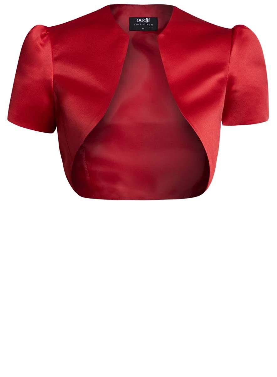 Болеро женское oodji, цвет: красный. 22A00003-2/24393/4500N. Размер 40 (46-170)22A00003-2/24393/4500NОригинальное болеро изготовлено из полиэстера на гладкой подкладке.Модель с V-образным вырезом горловины и короткими рукавами-фонариками.Болеро - отличное дополнение к кофточке или платью.
