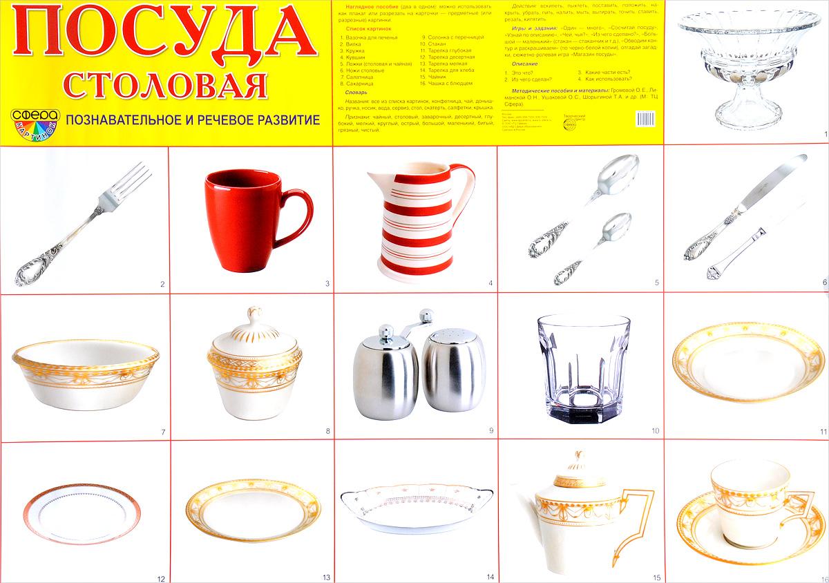 Посуда столовая. Познавательное и речевое развитие. Плакат