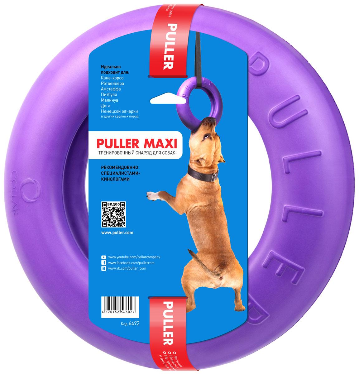 Тренировочный снаряд Puller Мaxi, цвет: фиолетовый6492Тренировочный снаряд Puller Мaxi специально адаптирован для крупных пород собак. Это прекрасный тренажер для развития челюстей а также правильной и крепкой хватки собаки. С Puller Мaxi доступны такие упражнения как: подвисание (подходит для СПРИНГПОЛА), перетяжка, плавание. Большая толщина и при этом достаточно мягкий материал, дает собаке огромное удовольствие, когда она держит его в своих зубах. Состоит из одного кольца.