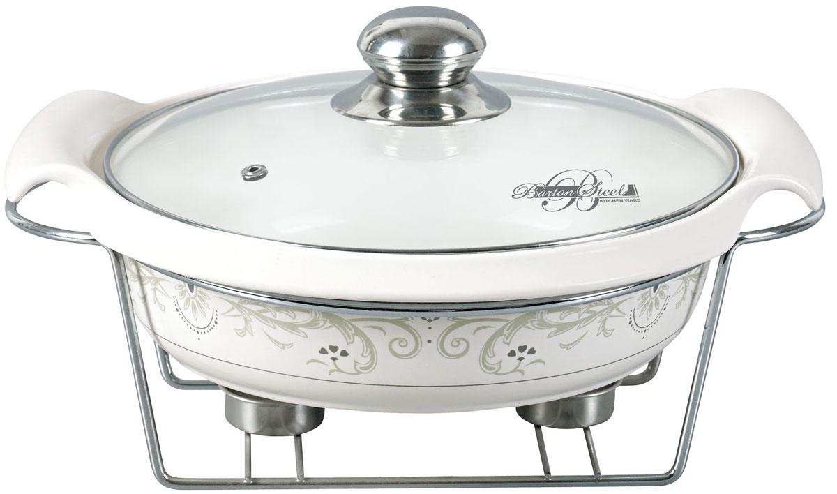 Мармит BartonSteel, цвет: серебристый, 1,9 л2015BSМармит BartonSteel - это круглое керамическое блюдо со стеклянной крышкой. Подставка под 2 свечи (включены). Керамическое блюдо можно ставить в духовку и посудомоечную машину.Элегантный дизайн.Объем: 1,9 л.