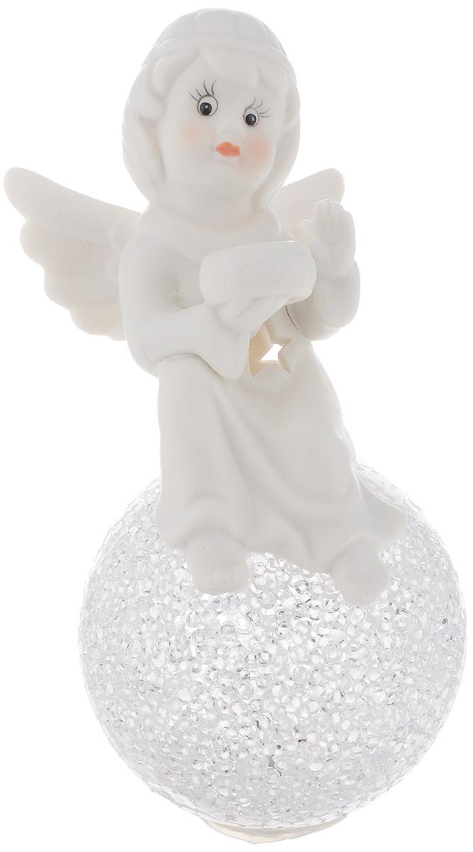 Фигурка декоративная Lillo Ангел на шаре, с подсветкой, высота 16 см