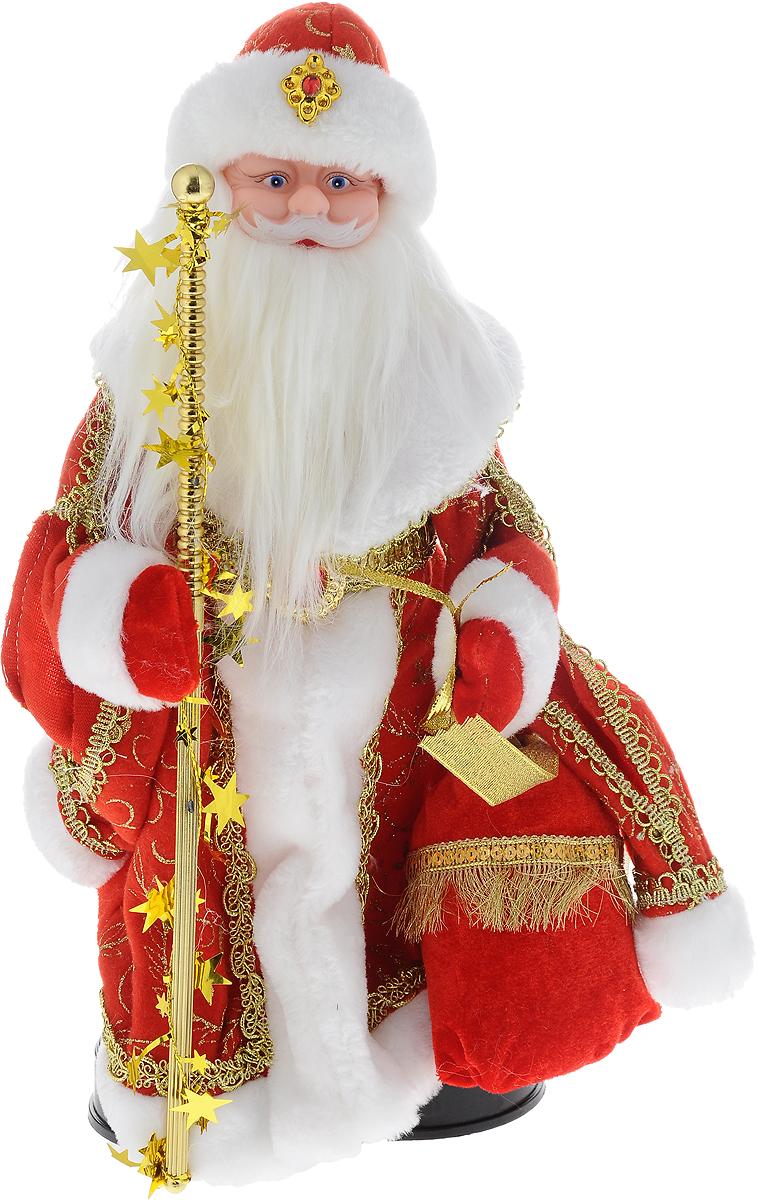 Фигурка новогодняя Winter Wings Дед Мороз, музыкальная, цвет: красный, золотой, высота 40 см. N05284N05284Декоративная музыкальная фигурка Winter Wings Дед Мороз изготовлена из пластика, полиэстера и ткани. Она подойдет для оформления новогоднего интерьера и принесет с собой атмосферу радости и веселья. Дед Мороз одет в длинную шубу с красивыми узорами, подвязанную ремешком с кисточками. На голове - шапка с мехом, на ногах - черные башмачки. В руках он держит посох и мешок с подарками. Его добрый вид и очаровательная густая, белая борода притягивают к себе восторженные взгляды.Новогодние украшения всегда несут в себе волшебство и красоту праздника. Создайте в своем доме атмосферу тепла, веселья и радости, украшая его всей семьей.Высота фигурки: 40 см.Фигурка работает от 4 батареек типа АА (батарейки в комплект не входят).