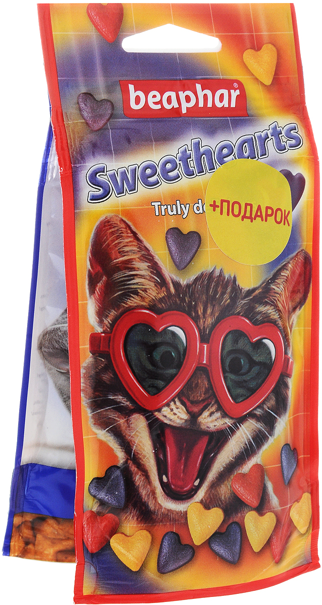Лакомство для кошек Beaphar Sweet Hearts, 150 шт+ ПОДАРОК: Лакомство для кошек Beaphar Malt Bits, 35 г лакомство от волосяных комочков для хорьков beaphar ferret bits