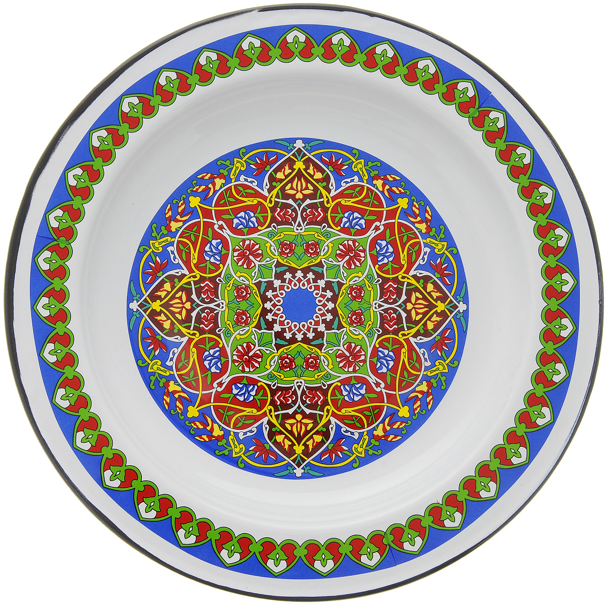 """Оригинальное СтальЭмаль """"Арабская"""", изготовленное из эмалированной, прекрасно подойдет для подачи нарезок, закусок и других блюд. Блюдо декорировано красивым узором. Оно украсит ваш кухонный стол, а также станет замечательным подарком к любому празднику. Диаметр блюда: 35,5 см.  Высота стенки: 3,5 см."""