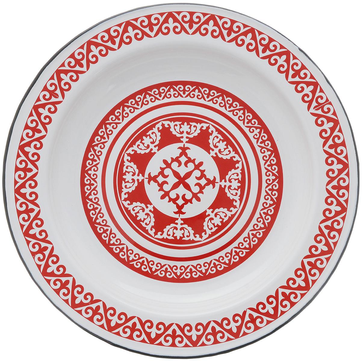 Блюдо СтальЭмаль Айша, диаметр 35,5 см1с6с/КОригинальное СтальЭмаль Айша, изготовленное из эмалированной, прекрасно подойдет для подачи нарезок, закусок и других блюд. Блюдо декорировано красивым узором. Оно украсит ваш кухонный стол, а также станет замечательным подарком к любому празднику.Диаметр блюда: 35,5 см. Высота стенки: 3,5 см.