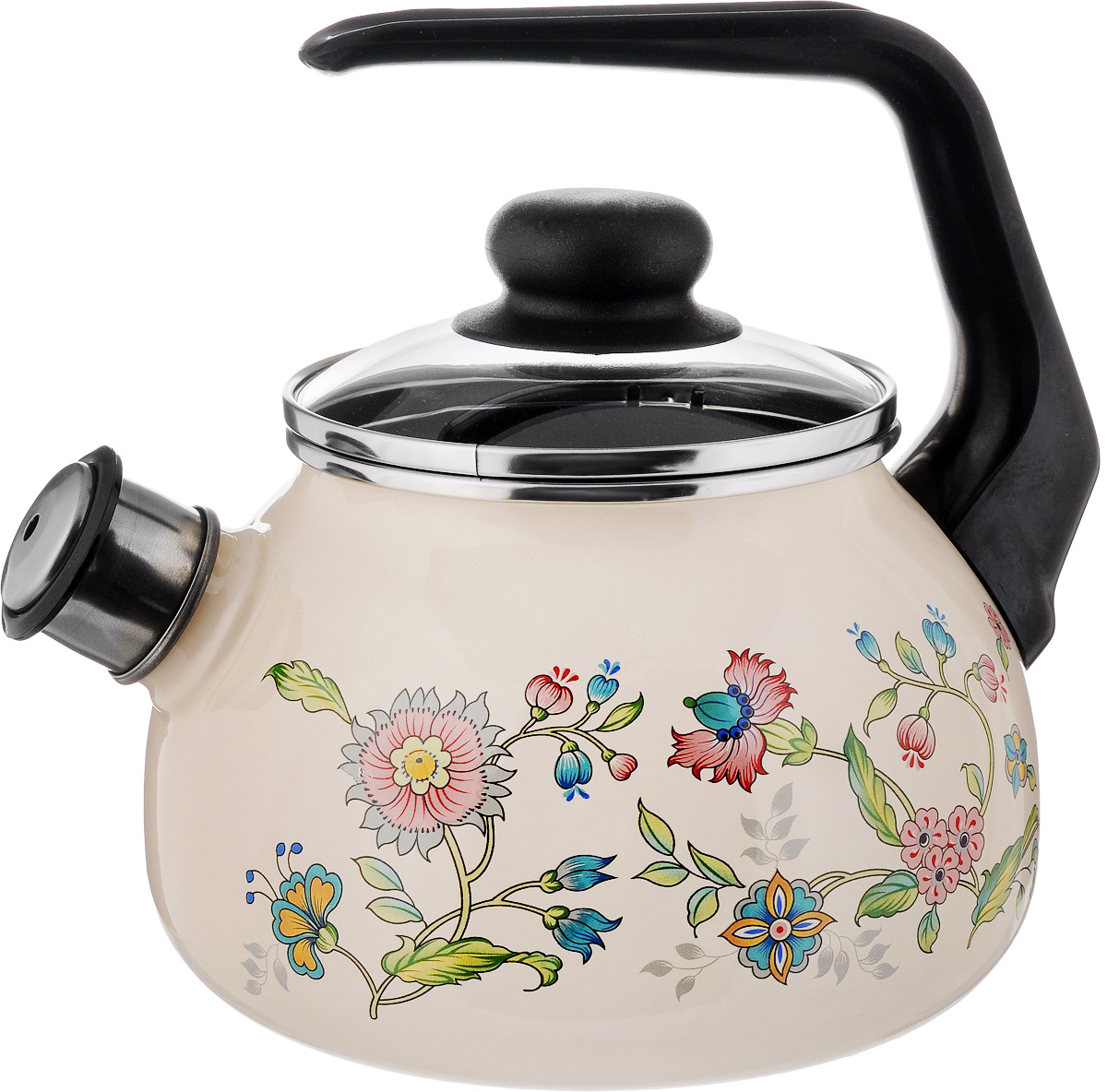 Чайник эмалированный СтальЭмаль Луговые цветы, со свистком, 2 л4с210/яЧайник СтальЭмаль Луговые цветы выполнен из высококачественного стального проката, покрытого двумя слоями жаропрочной эмали. Такое покрытие защищает сталь от коррозии, придает посуде гладкую стекловидную поверхность и надежно защищает от кислот и щелочей. Носик чайника оснащен свистком, звуковой сигнал которого подскажет, когда закипит вода. Чайник оснащен фиксированной ручкой из пластика и стеклянной крышкой, которая плотно прилегает к краю благодаря особой конструкции. Внешние стенки декорированы красочным цветочным рисунком. Эстетичный и функциональный чайник будет оригинально смотреться в любом интерьере. Подходит для всех типов плит, включая индукционные. Можно мыть в посудомоечной машине. Диаметр (по верхнему краю): 12,5 см.Высота чайника (с учетом ручки): 21 см.Высота чайника (без учета ручки и крышки): 12,5 см.