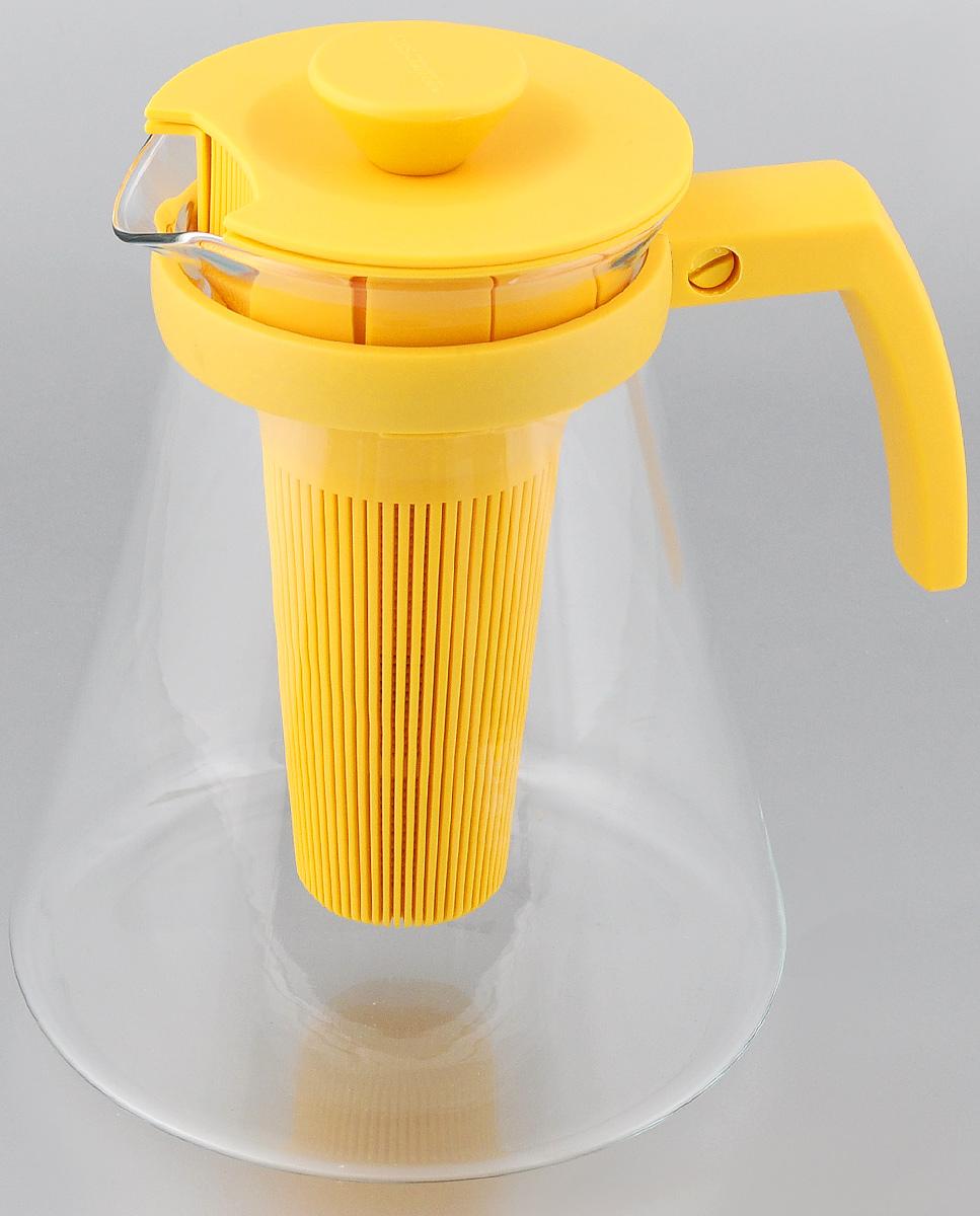 Чайник заварочный Tescoma Teo Tone, с ситечком, цвет: желтый, прозрачный, 1,7 л646625.12Чайник заварочный Tescoma Teo Tone предназначен для подготовки и сервировки всех видов чая и чайных напитков. Чайник снабжен глубоким ситечком для заваривания свежей мяты, мелиссы, имбиря, сушеного шиповника, фруктов, а также очень густым ситечком для заваривания всех видов рассыпного чая. Корпус чайника изготовлен из термостойкого боросиликатного стекла, поэтому его можно ставить на плиту. Ручка, крышка и ситечко изготовлены из прочного пластика. Чайник подходит для газовых, электрических и стеклокерамических плит, микроволновой печи. Не рекомендуется мыть в посудомоечной машине. Инструкция по использованию внутри упаковки. Диаметр (по верхнему краю): 10 см. Диаметр основания: 16 см. Высота: 18 см.