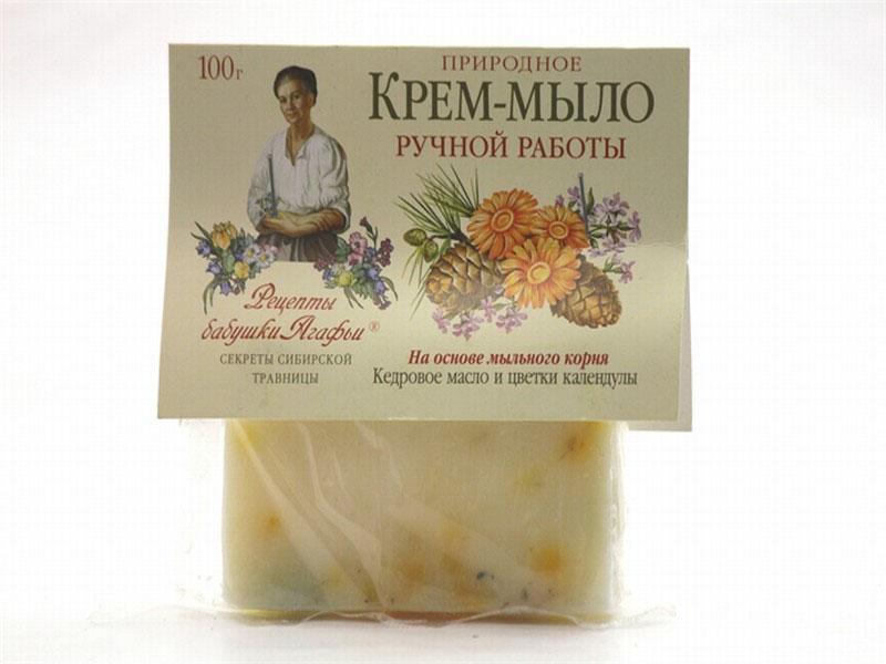 Рецепты бабушки Агафьи Мыло Кедровое масло и календула, 100 гр071-6-2610Природное крем-мыло с тонизирующим и легким противовоспалительным действием увлажняет и разглаживает кожу. Мыльный корень – это натуральная, хорошо пенящаяся основа, которая намного мягче, чем щелочная, используемая обычно. Масло кедровых орешков питает кожу, способствуя более активному процессу обновления клеток и омолаживанию кожи, а календула очищает ее.