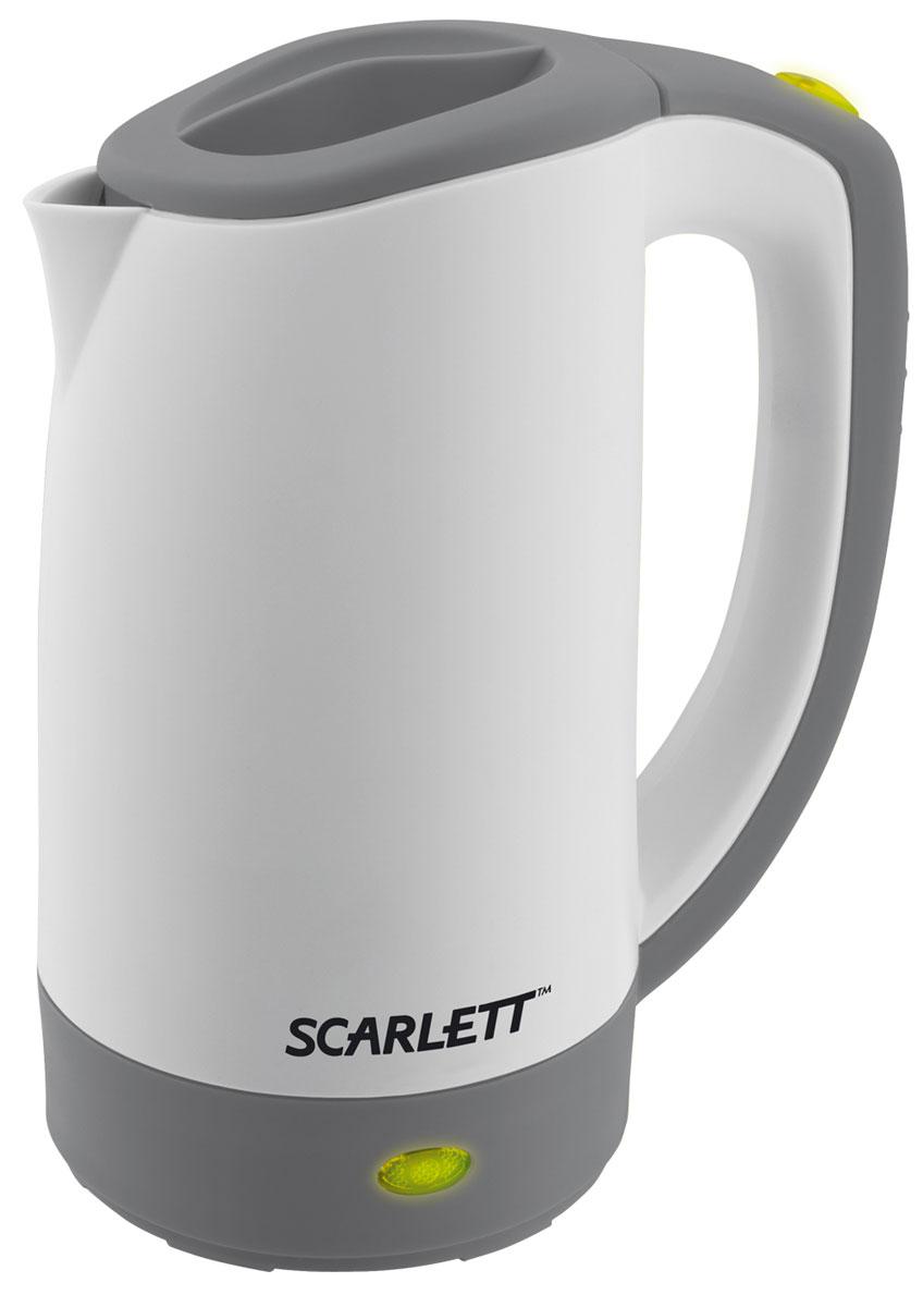 Scarlett SC-021, Grey чайник электрическийSC-021Компактный электрический дорожный чайник Scarlett SC-021. Высота данного устройства составляет 19 см. Корпус выполнен из экологического термостойкого пластика. Имеет широко открывающуюся крышку, которая очень удобна для наполнения. Чайник автоматически отключается при недостаточном количестве воды. В комплект входит пластиковая чашка.